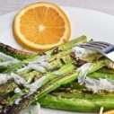 Roasted asparagus with shaved parmesan