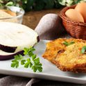 Crisp eggplant rounds with breadcrumbs