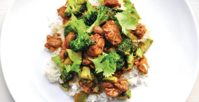 Peanut Chicken and Broccoli with Coconut Rice