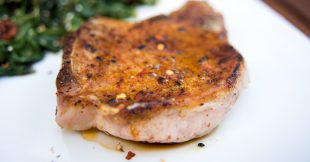 Honey Mustard Pork Chops with Lemon Spinach